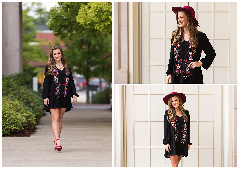 black floral embroidered dress red hat auburn alabama senior pictures lbeesleyphoto