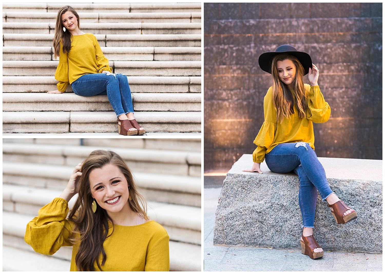 yellow shirt black hat senior portriats auburn alabama lbeesleyphoto