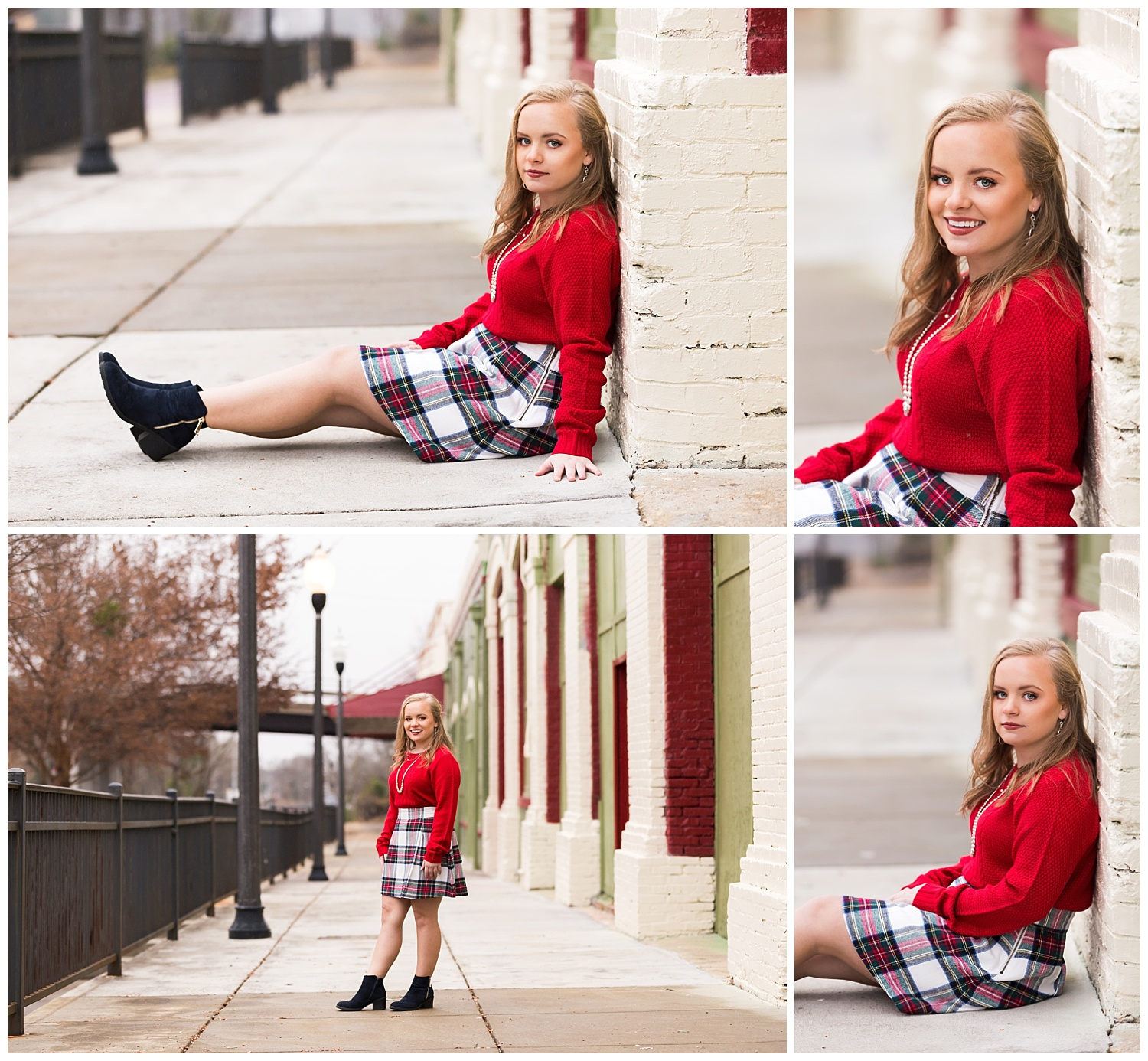 red sweater plaid skirt senior pictures lbeesleyphoto