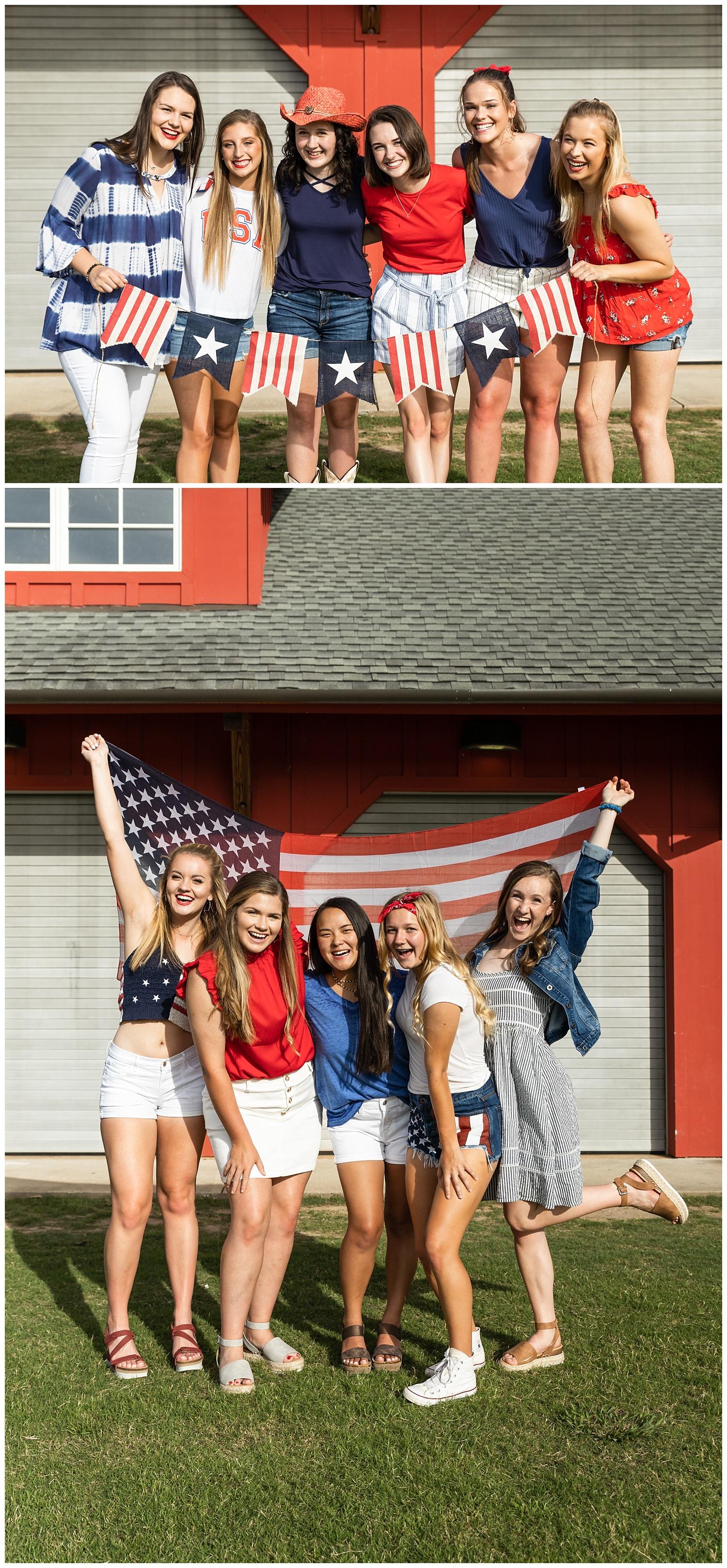 group photo shoot red white and blue senior portraits auburn alabama