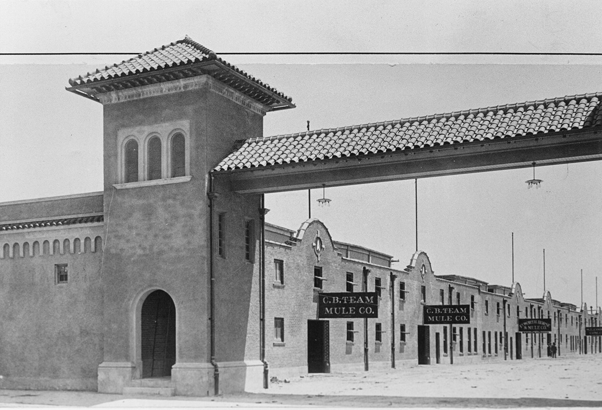 Entrance and gate to Mule Alley in Fort Worth stockyards, no date.jpg