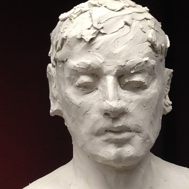 Student work. Bust in white clay #melbournesculptureclasses