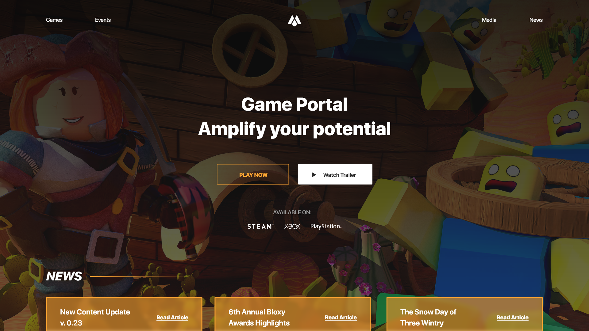 Demo Homepage  All Game Portals are customized to the game they're ordered for.