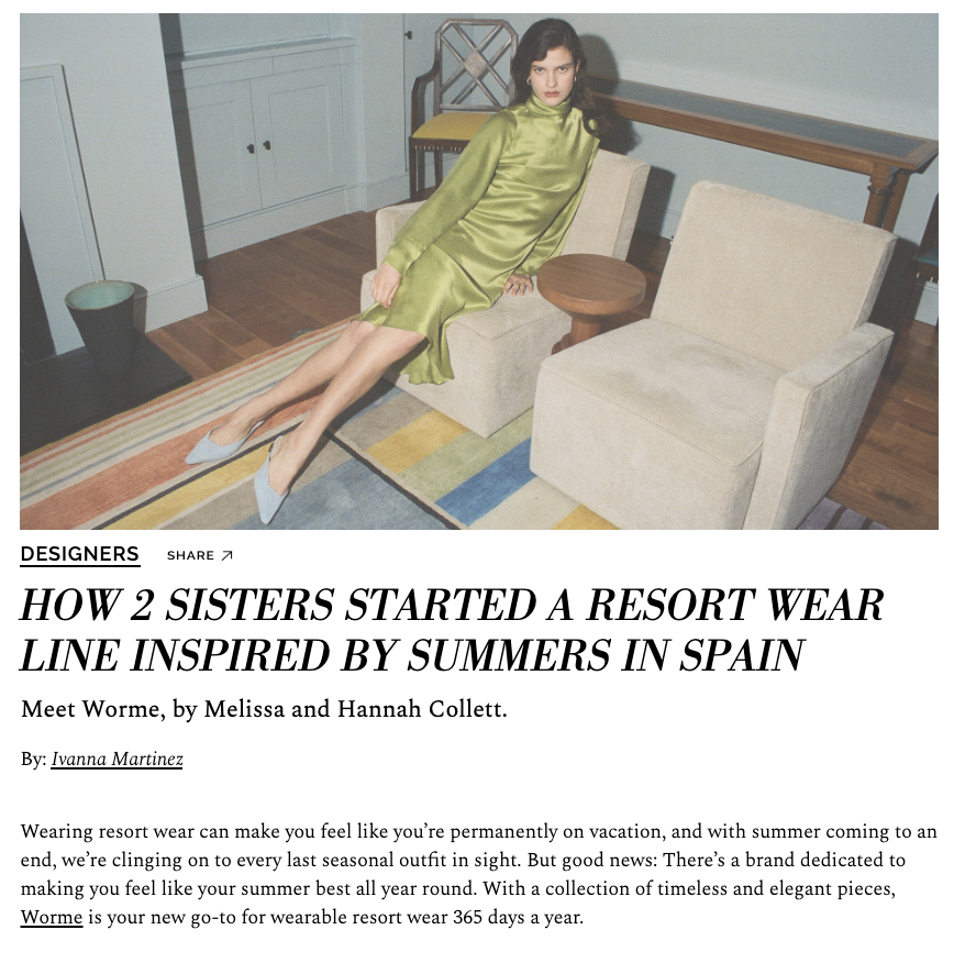 English Designers Melissa and Hannah Collett Worme Interview, 2019