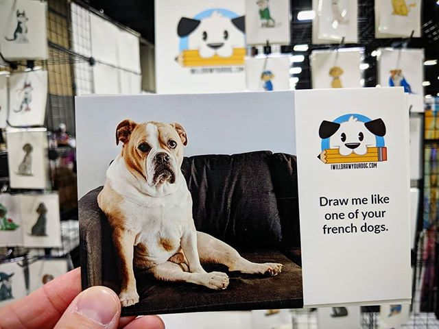 We're out here at HeroesCon in Charlotte. Come by a small dog print, or a free postcard. Stop by and chat and get a discount code to use on an order!  #heroescon2019 #heroescon #iwilldrawyourdog #dogs #dogs_of_instagram #dogstagram #bulldogs #bulldogsofinstagram #bullies #art #illustration #doggos #heroes