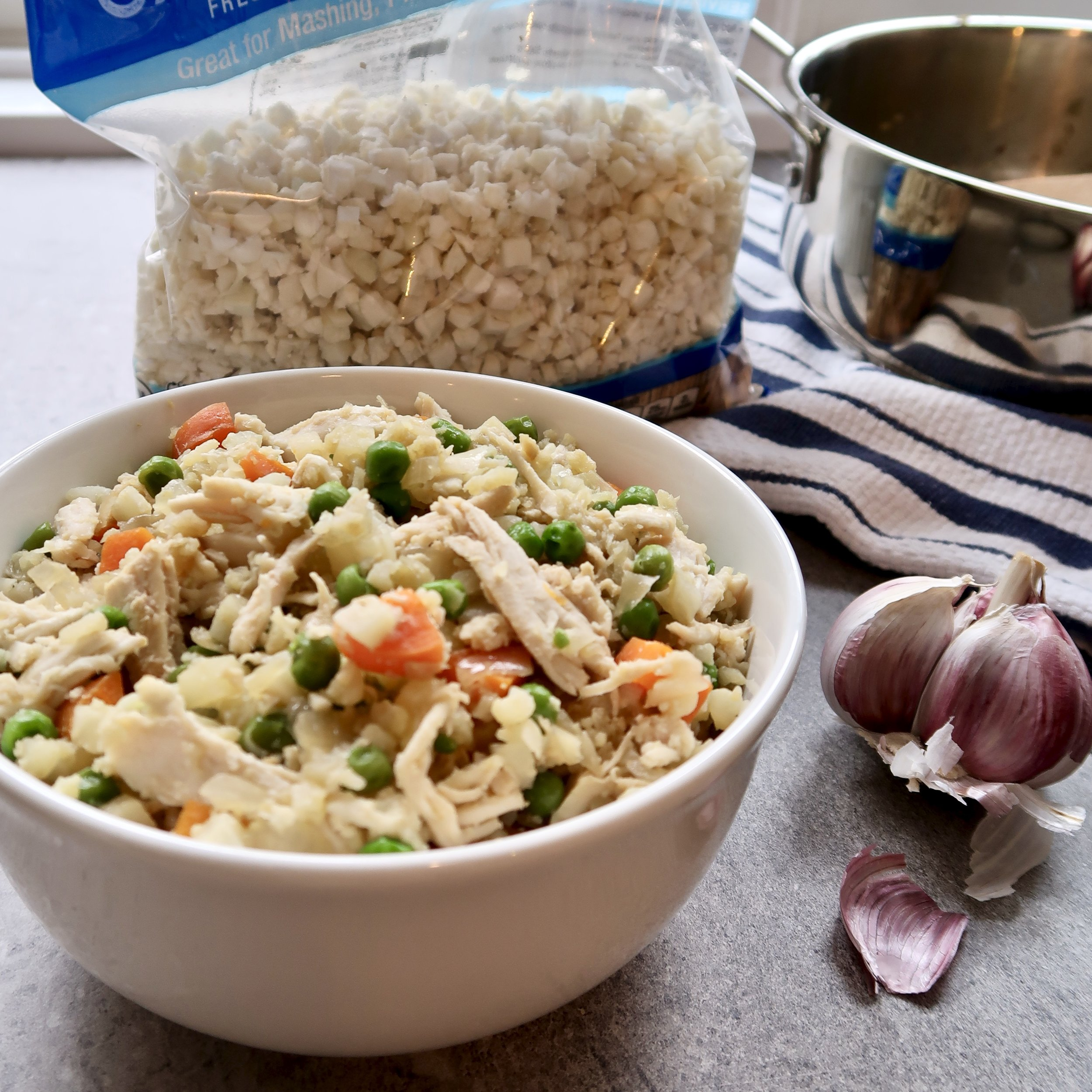 Chicken Fried Cauli Rice (Grain and Gluten Free, Dairy Free, Egg Free)