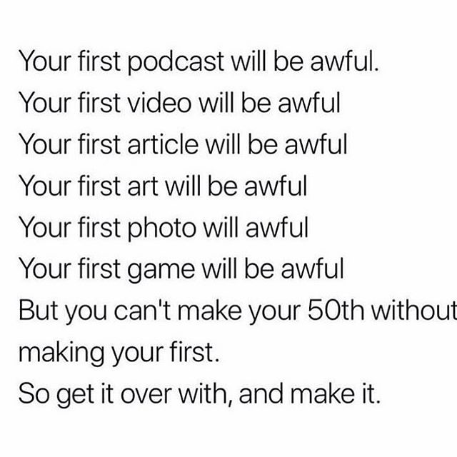 I mean, your first podcast won't be awful if you work with me, but... 😉 In all seriousness, I think doing the thing is ALWAYS better than not doing the thing, no matter your experience, production value, equipment, or anything else. Sure, there are *many* people who judge others for their mistake-ridden first steps, but those same people were probably too afraid to put their own ideas out there to begin with 🤷♀️ If there's something you're working on or thinking of starting, let me know in the comments!! I'd love to be your cheerleader 🎉🤗 . . . . . #femaleentrepreneurs #femalepreneur #sayyestosuccess #hersuccess #ladypreneur #solopreneur #womeninbiz #buildinganempire #beyourownboss #momboss #onlinecourses #podcasteditor #podcaster #podcastproduction #girlboss #personaldevelopment #businessminded #garyvee #loveandlife #womenowned #workfromhome  #quoteoftheday #businessquotes #lifequotes #inspirationalquotes #entrepreneurtips #entrepreneurgoals #shepodcasts