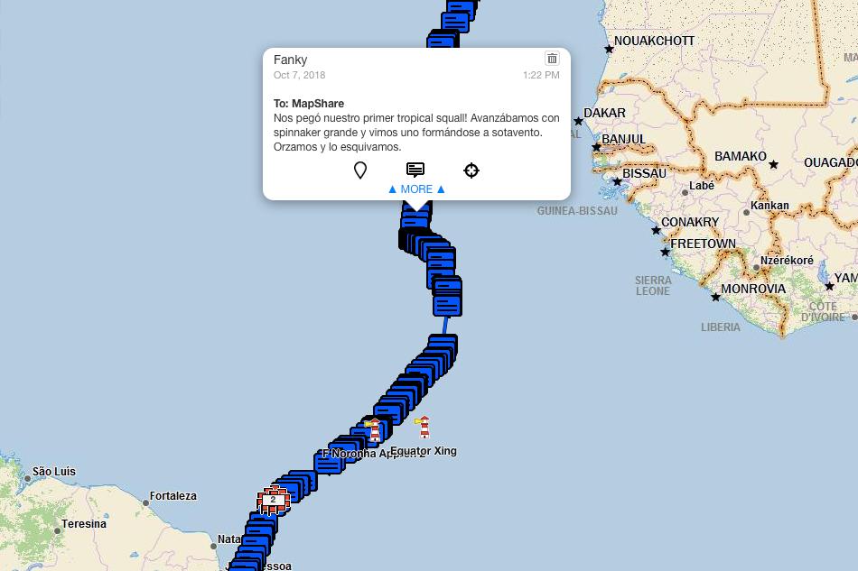 Mensaje satelital desde Fanky cuando empezaron los  squalls .