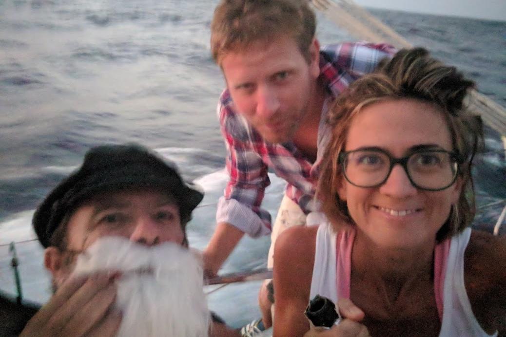 Con Neptuno y el Capitán celebrando el paso por el Ecuador