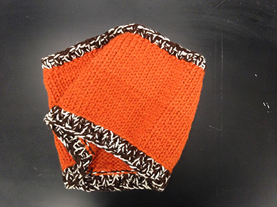 "Record Number: 003 Collection Date: 12 June 2017  Description: Cowl neck warmer, Orange, brown, white, wool  Dimension: 9"" x 14"""