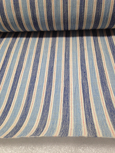 "Record Number: 015 Collection Date: 17 Oct 2017  Description: Striped fabric, dark blue, light blue, red Dimension: 0.25"" x 15"""