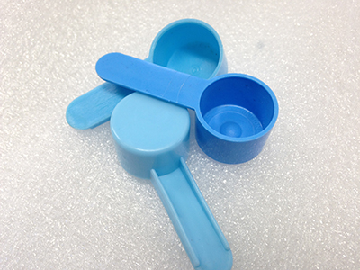 "Record Number: 018 Collection Date: 18 Oct 2017  Description: Three blue plastic scoops Dimension: 0.5"" x 2"" x 0.75"" each"