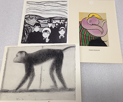 "Record Number: 023 Collection Date: 21 Oct 2017  Description: Three postcards w/ reproductions of paintings by Munch, Picasso, Serat Dimension: 4"" x 6"" ea"