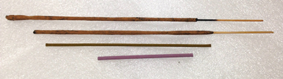 "Record Number: 025 Collection Date: 21 Oct 2017  Description: Four incense sticks Dimension: range from 2.75"" to 8"""