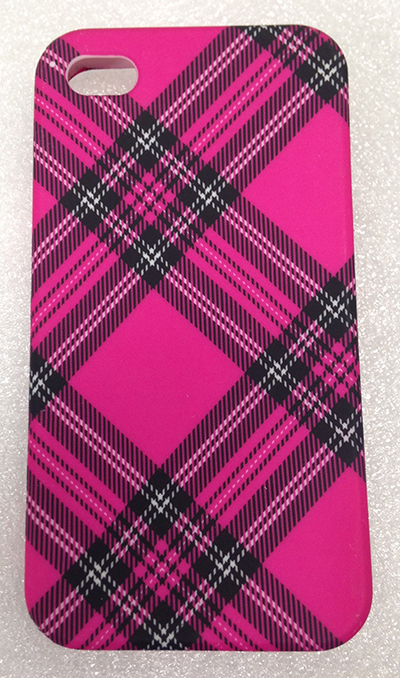 "Record Number: 026 Collection Date: 21 Oct 2017  Description: Cell phone cover, plastic, pink plaid Dimension: 3"" x 0.5"""