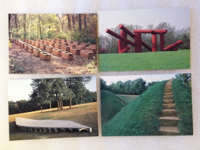 "Record Number: 035 Collection Date: 21 Oct 2017  Description: postcards of 4 sculptures at Laumiere Sculpture Park Dimension: 4"" x 6"""
