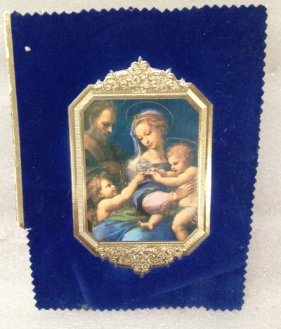 "Record Number: 040 Collection Date: 21 Oct 2017  Description: Madonna of the Rose, blue velvet, gold stamp Dimension: 7 1/8"" x 6"""