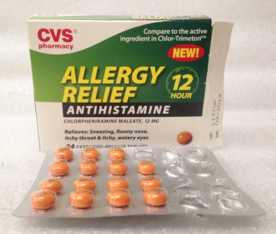 "Record Number: 061 Collection Date: 21 Nov 2017  Description: Allergy medication, CVS box, burnt orange/brown tablets 3/8 diameter Dimension: 4"" x 3.75"" x .75"" Box"