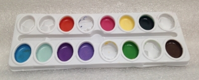 "Record Number: 071 Collection Date: 20 Nov 2017  Description: Multi color paint in plastic tray, used in creative pursuits Dimension: .5 x 7.75"" x 3"""