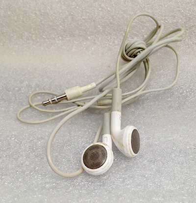 "Record Number: 081 Collection Date: 24 Nov 2017  Description: Earbuds, white Dimension: 46"" x .75"""