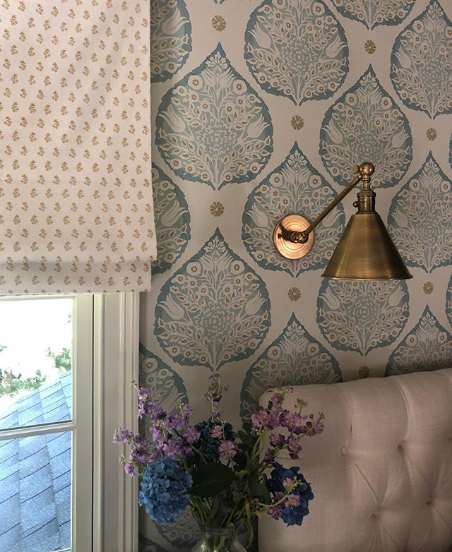 Love the gorgeous seasonal palette of our clients master bedroom - desaturated colors and classical prints.