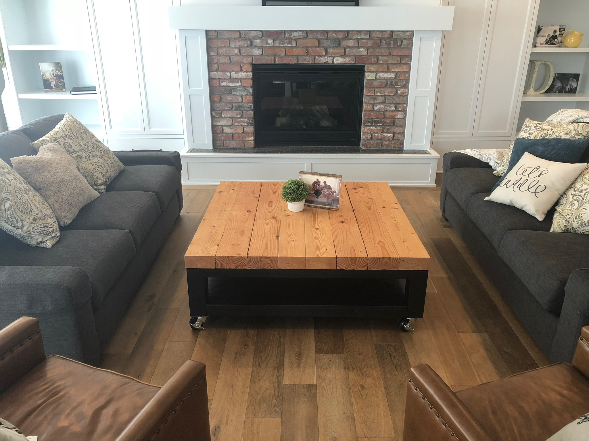 Douglas fir timber coffee table with swivel casters