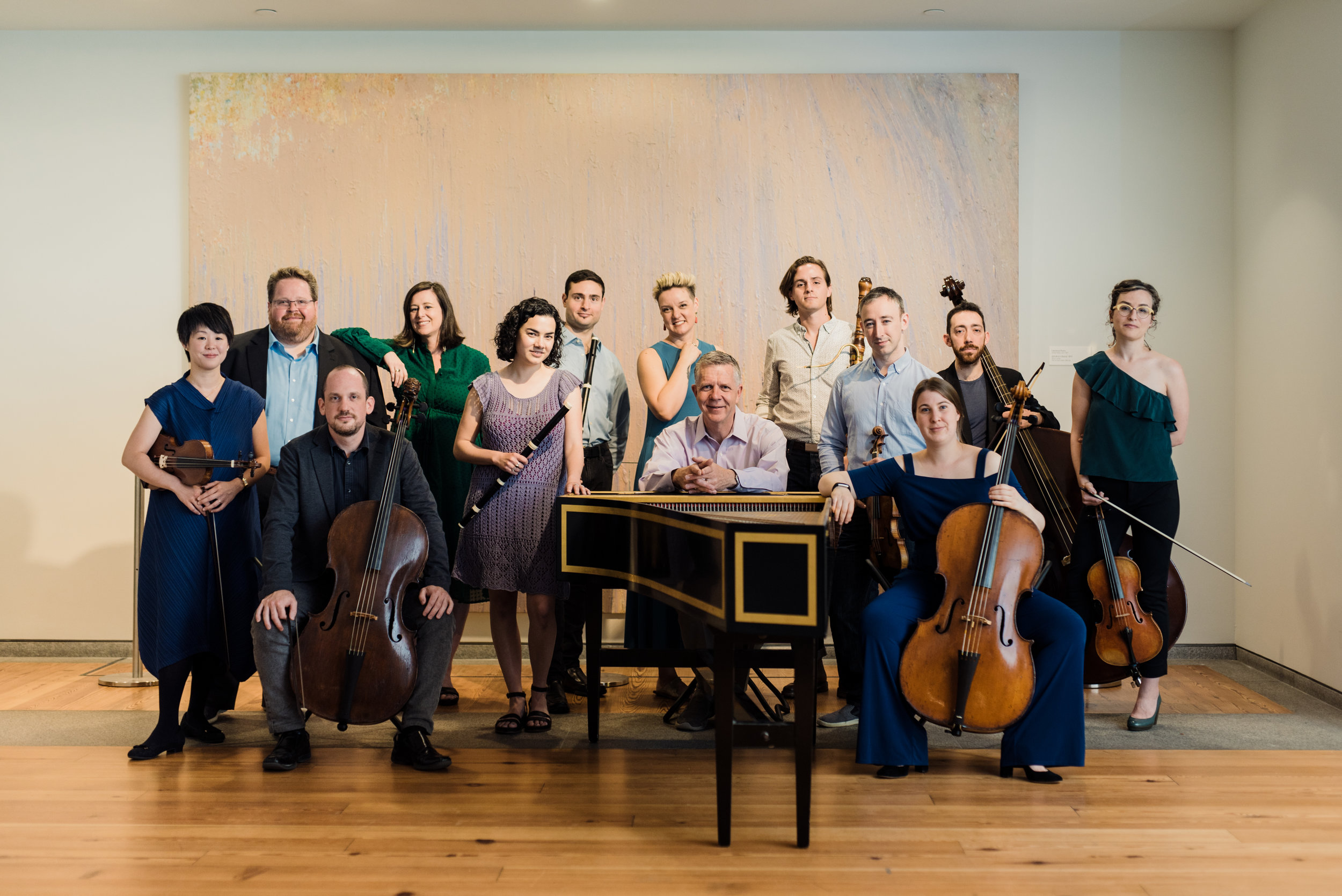 Ensemble photo with harpsichord at Portland Museum of Art