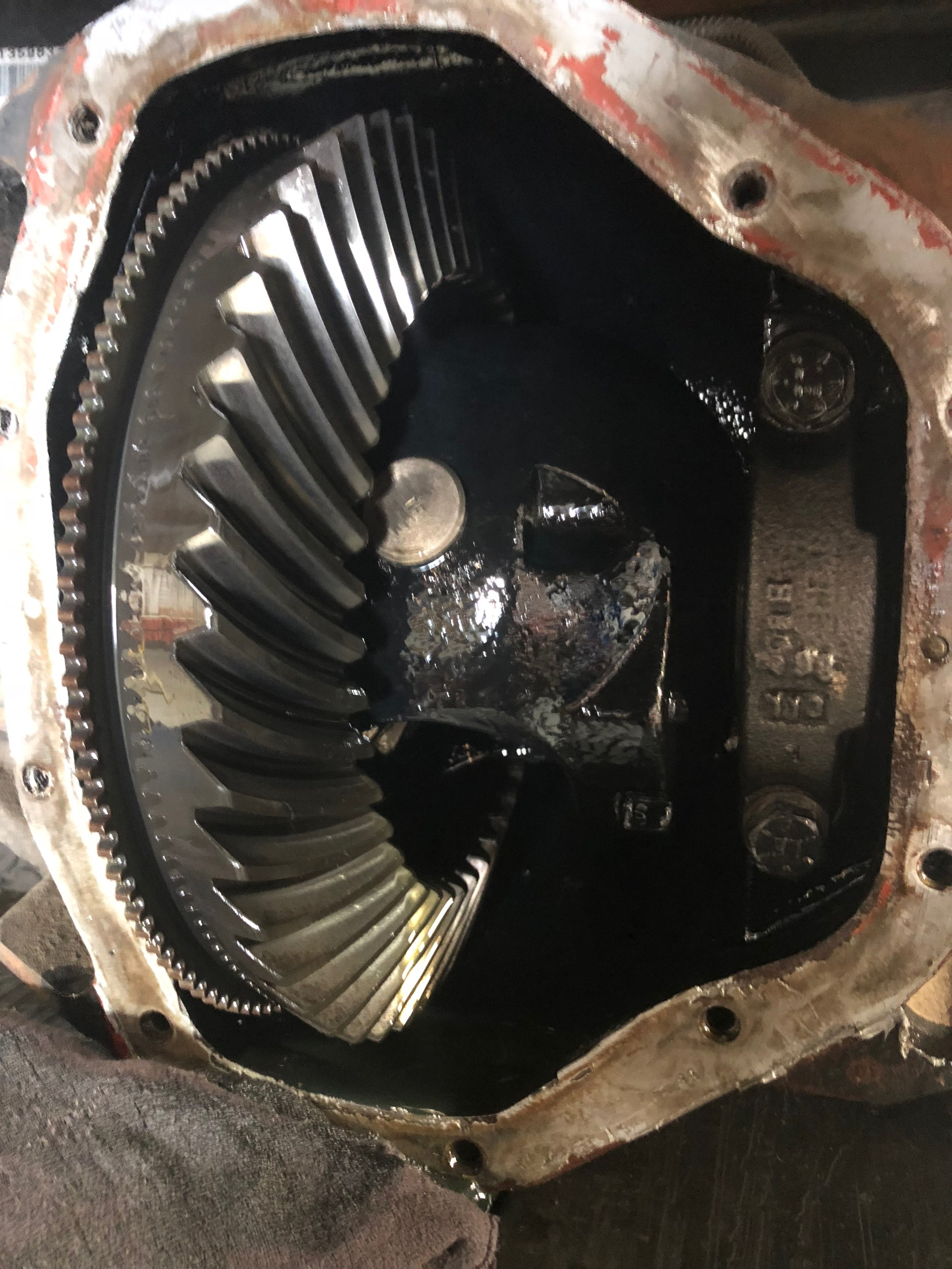 Open carrier….and NO way to get that pinion shaft on with the Ring Gear on.
