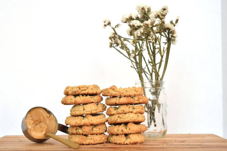 Peanut Butter Cookies - Ingredients: Peanut butter, flour, organic vegan white sugar, vegetable shortening, chickpea water (water, chickpeas), molasses, baking soda, pure vanilla extract, saltContains: Wheat
