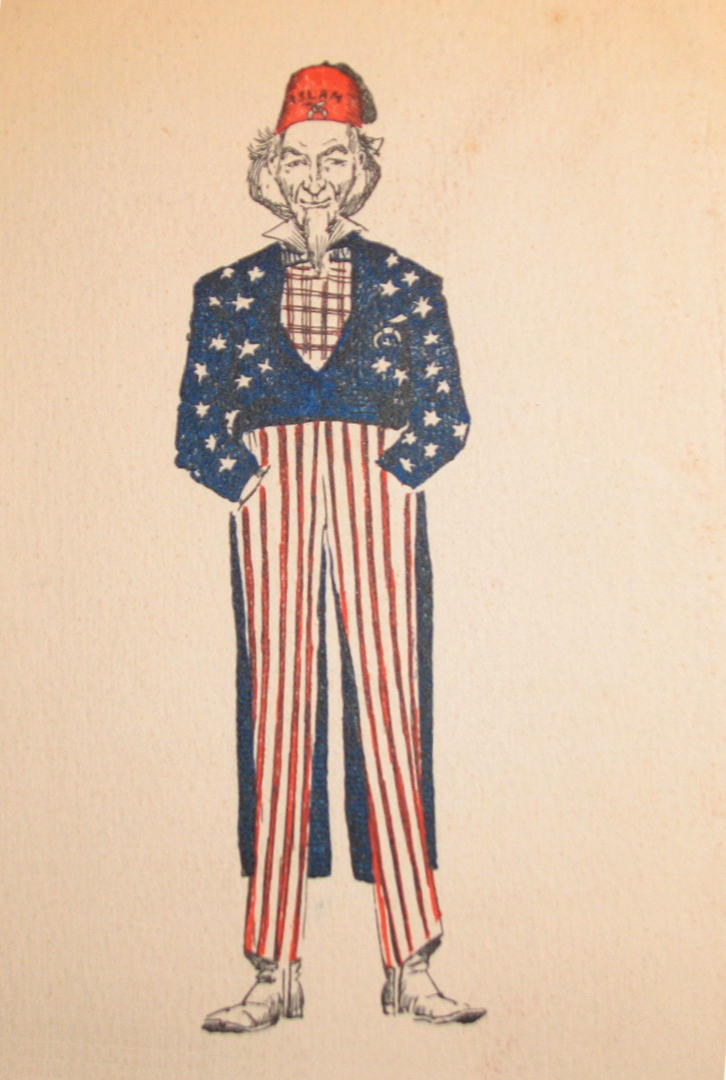 "Americans once believed there was nothing strange about Uncle Sam wearing a red fez with the Muslim star and crescent and the word ""Islam."" San Francisco, CA, c. 1890. I found this image in the attic of a Shriner lodge in San Mateo. There are a lot of amazing things in attics and basements. Get out and find them before they disappear."
