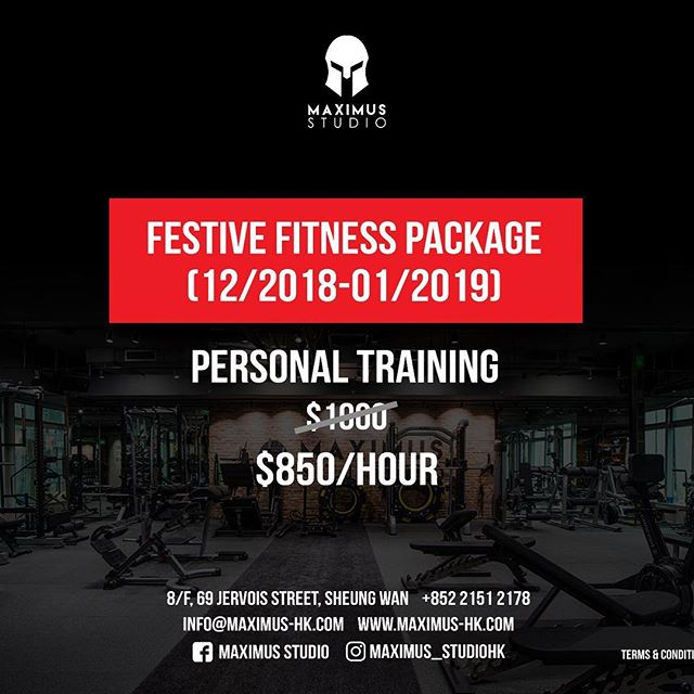 'Tis the season to feast but stay fit! From 1st of December to the end of January, Maximus Studio is happy to share with you our festive fitness personal training rate of only $850 per 1 hour session!  Contact us for more information: 📞: 2151 2178 📧: info@maximus-hk.com www.maximus-hk.com 📍8/F, 69 Jervois Street, Sheung Wan