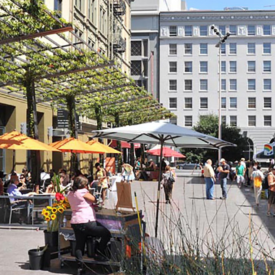 Shape Public Space for Public Life - Focus on public life compels integration of development with a dynamic open space system; interweaving parks, plazas and gathering places with an extensive pedestrian and bicycle network.