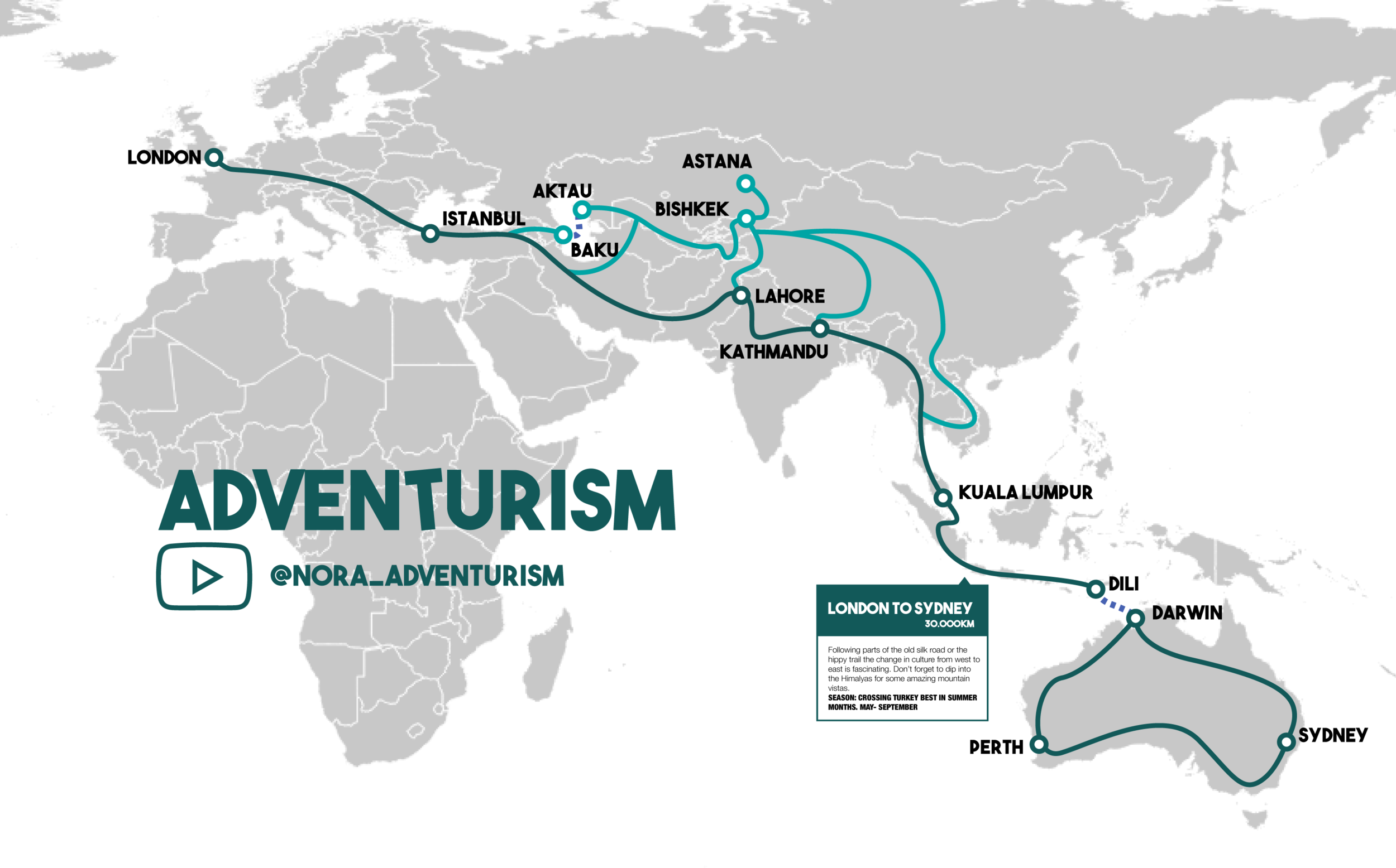 The route that takes you from the Western world into Eastern culture and back.