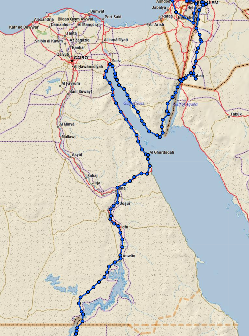 Our route through Egypt