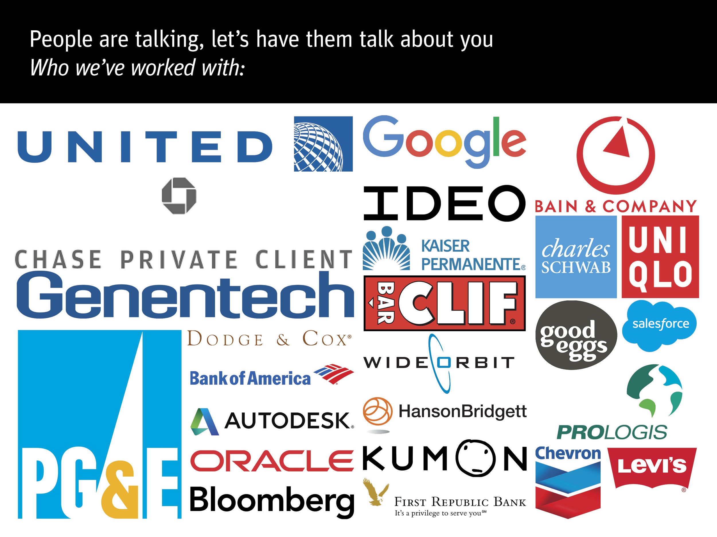 This slide was probably the trickiest to organize- I created a grid with the biggest sponsors in a large column on the left, then 1.5 smaller columns of rectangular logos in the middle, then the square and oddly shaped logos on the far right. I had never wished that there was a standard logo size and ratio before this.