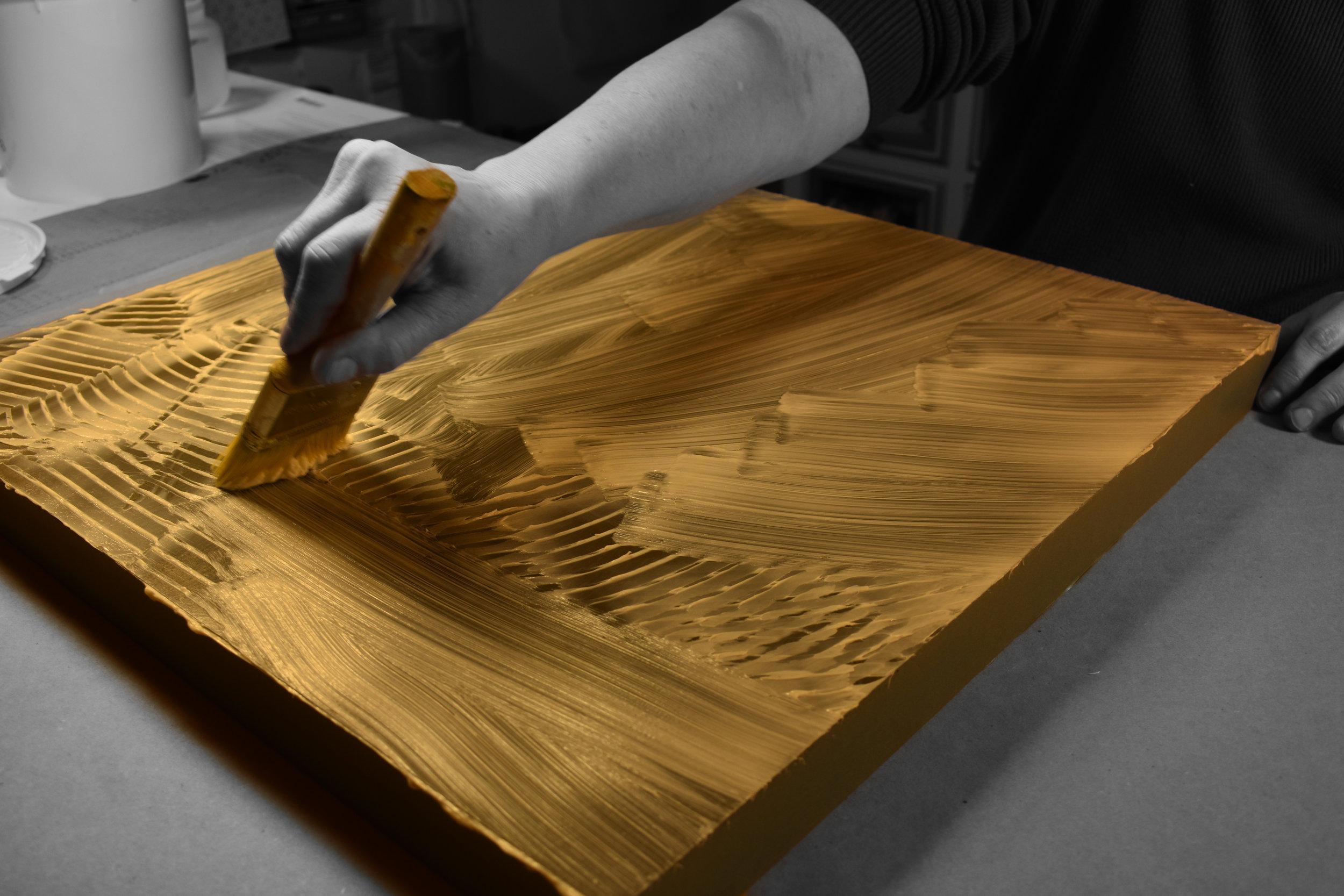 Adhesive - coating the panel….