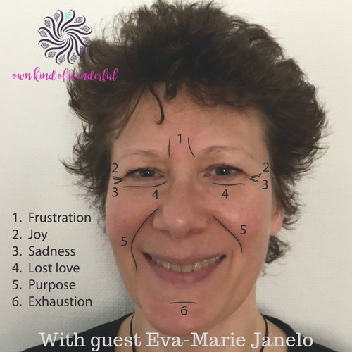 REVEALING THE SECRETS OF YOUR FACE WITH GUEST EVA-MARIE JANELO . I love wrinkles, wrinkles tell about you, who you are, what you have done in life, it's bringing out all the wisdom you have inside of you.