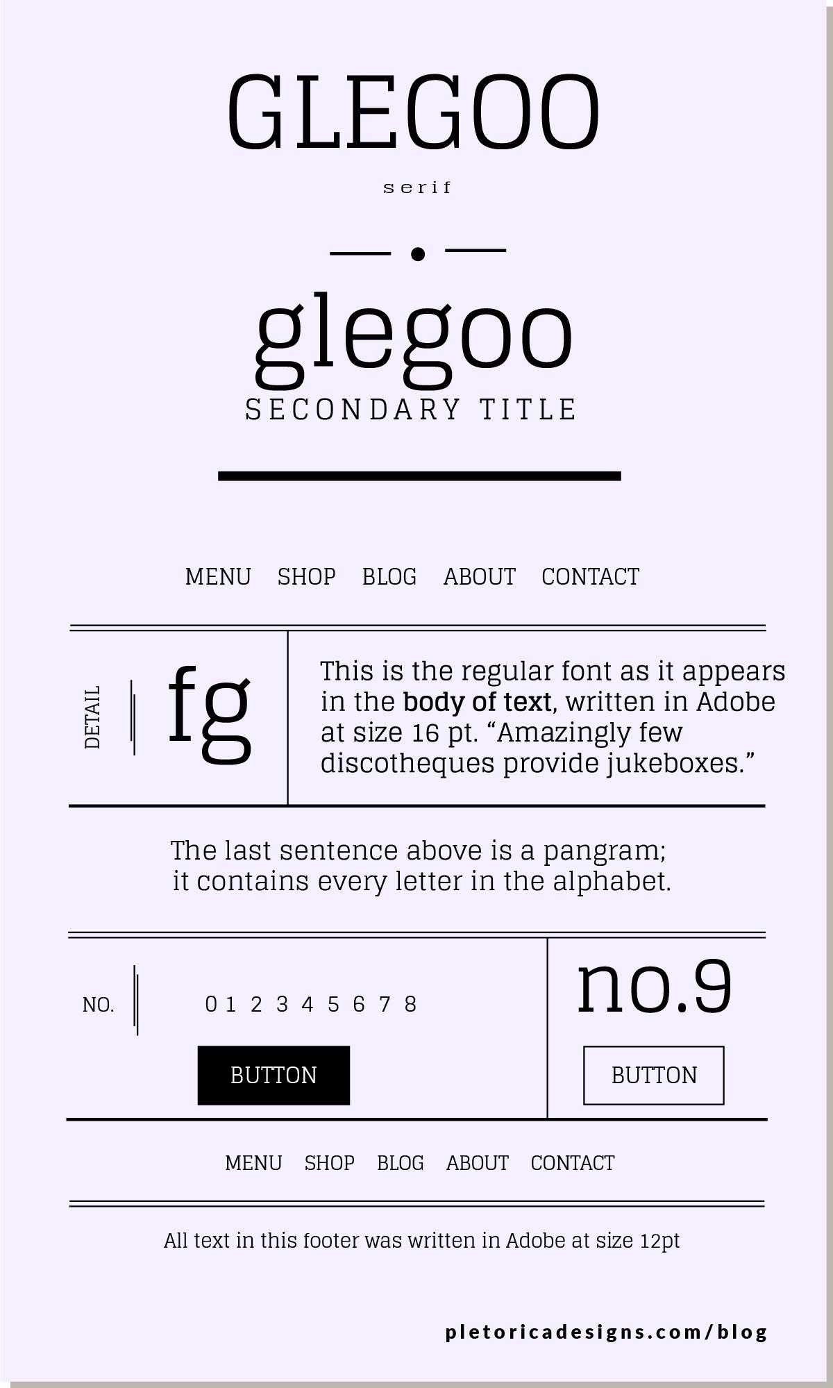 LET'S TYPE: Glegoo —PLETÓRICA DESIGNS