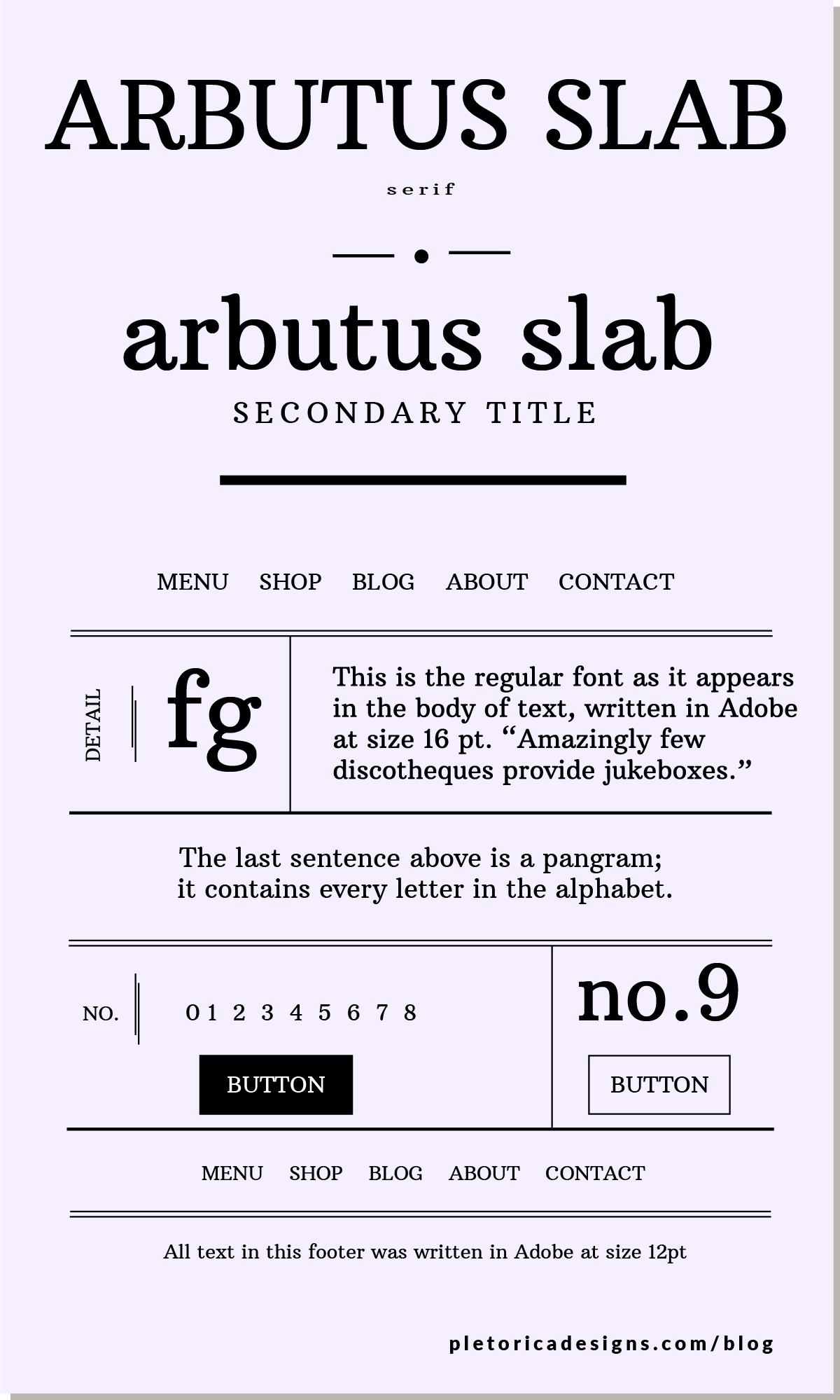 LET'S TYPE: Arbutus Slab — PLETÓRICA DESIGNS
