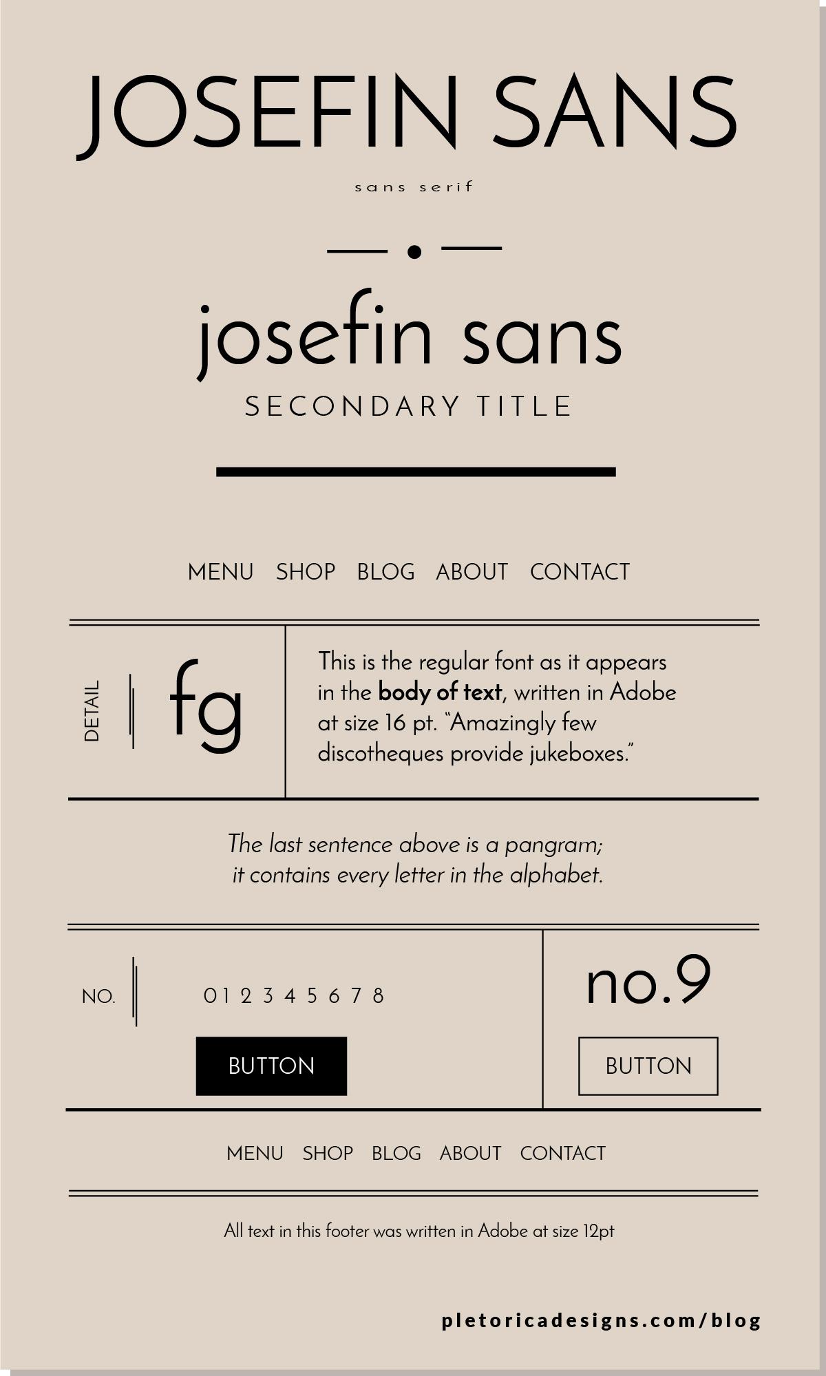 LET'S TYPE: Josefin Sans — PLETÓRICA DESIGNS
