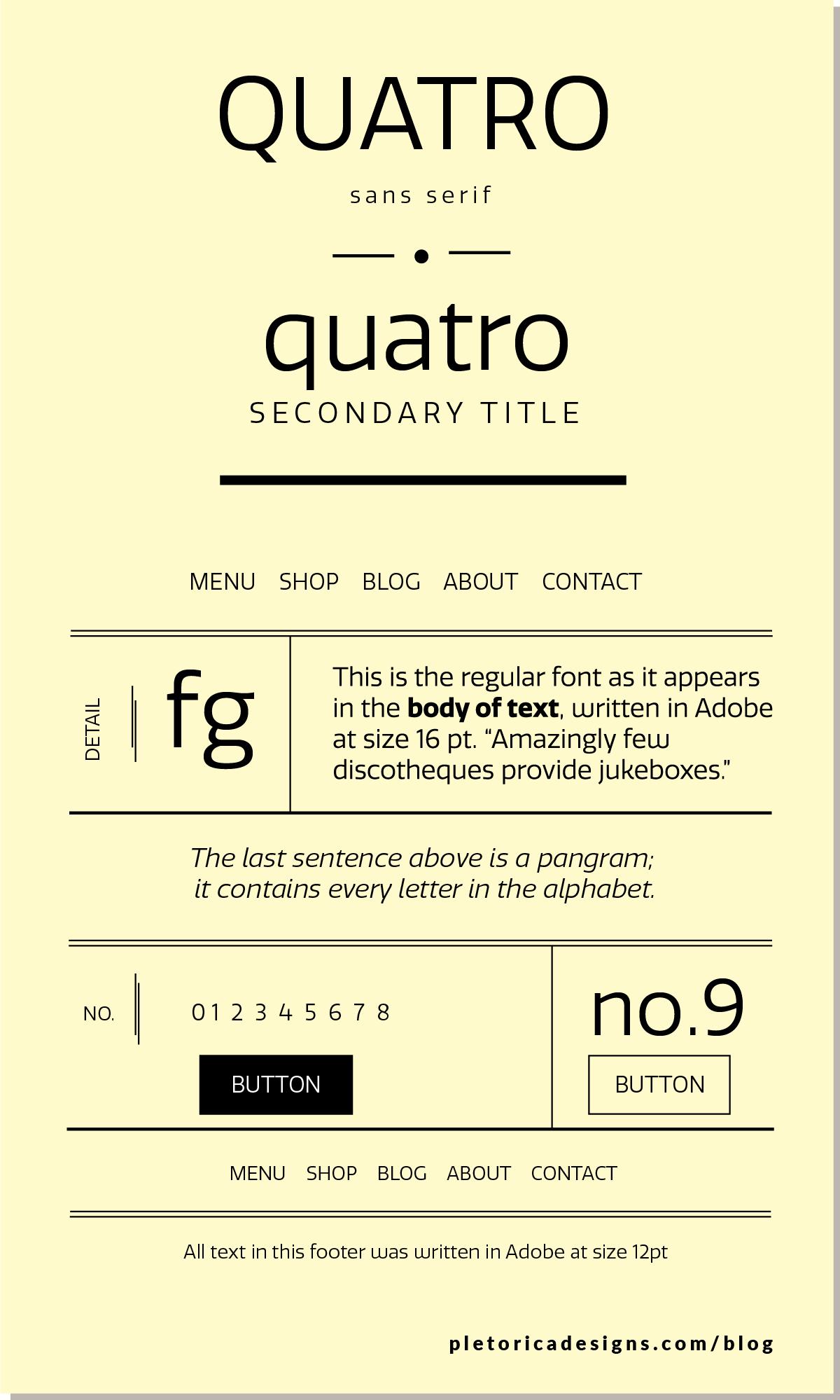 LET'S TYPE: Quatro — PLETÓRICA DESIGNS