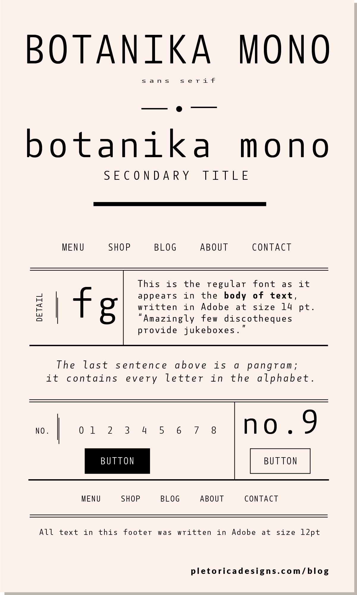 LET'S TYPE: Botanika Mono — PLETÓRICA DESIGNS