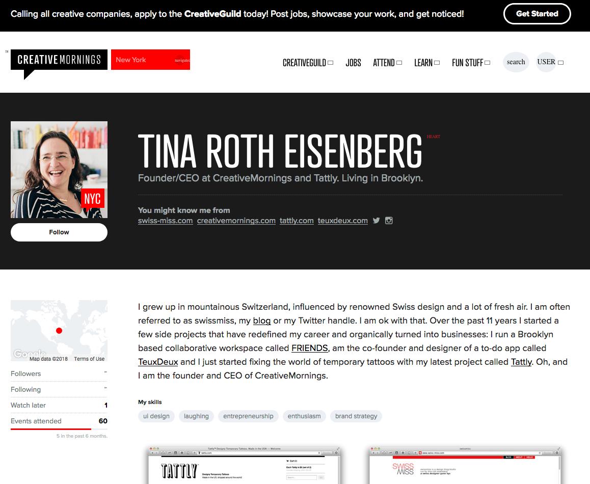 """Atrament es la tipografía utilizada en el título (H1) """"Tina Roth Eisenberg"""", en la web de Creative Mornings."""