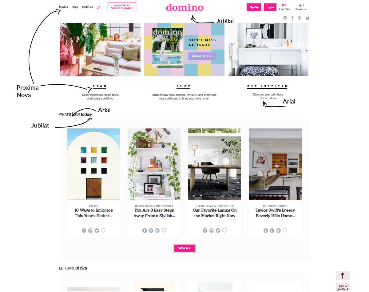 Combinación de las tipografías Proxima Nova, Jubilat y Arial en la web Domino.