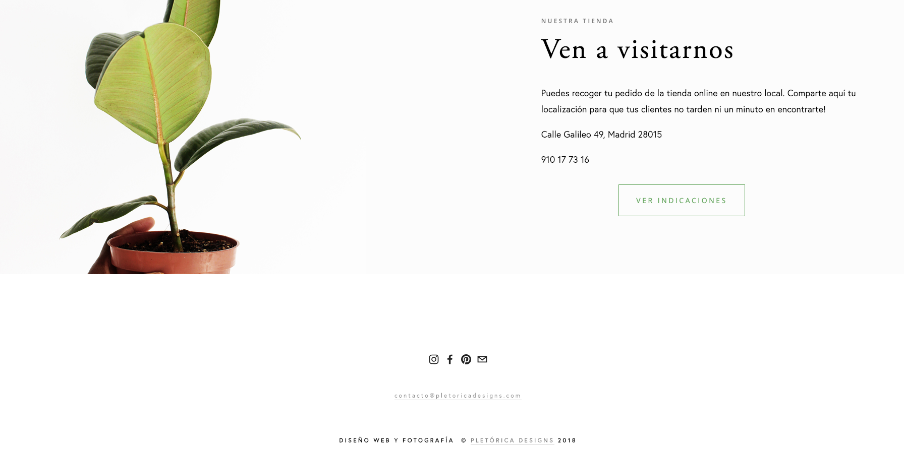 Our  Plantlove  template includes both the shop address and a link to Google Maps to encourage customers to visit.