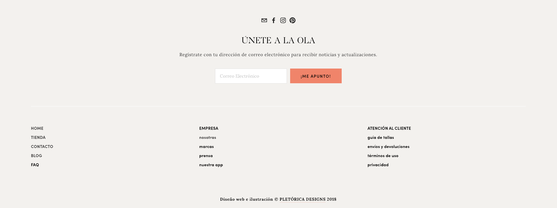 The footer on our  Olas template  includes links to every useful section of your site that doesn't fit on the navigation bar.