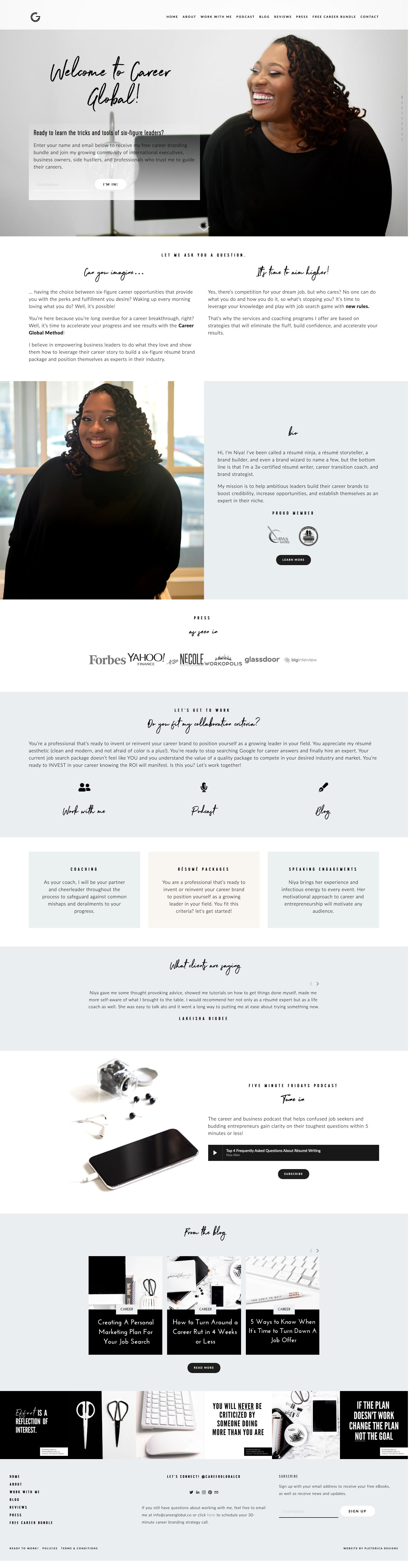 Career Global Squarespace Website — PLETÓRICA DESIGNS