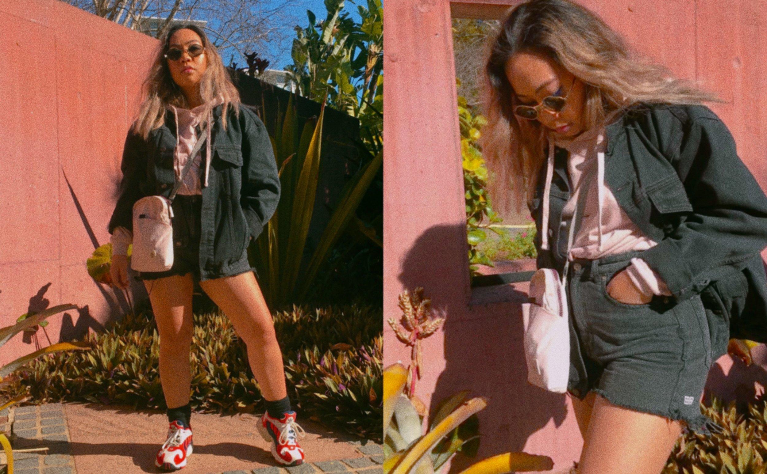 Jacket //  Princess Polly Phoenix Denim Jacket  Hoodie // Cotton On  (Similar Item)  Shorts //  Ksubi Rise n Hi Shorts in Storm  Side Bag // Crumpler  (Similar Item)  Sunnies //  Quay Purple Honey