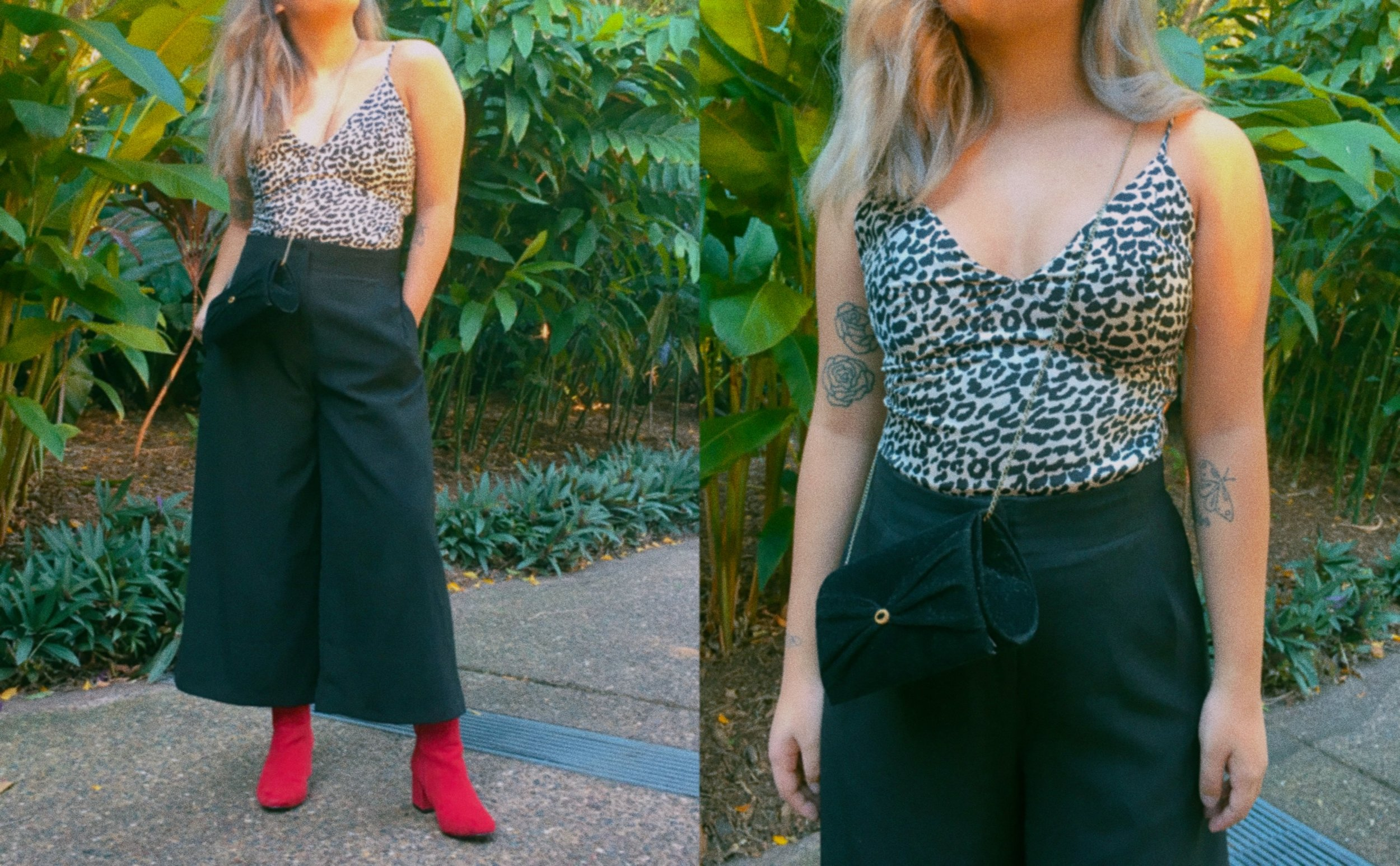 Top //  Princess Polly Dusk in the Amazon Dress   (Similar Item as a Bodysuit)  Culottes // Thrifted  (Similar Item)  Bag // Thrifted (Similar Items:  One,   Two )