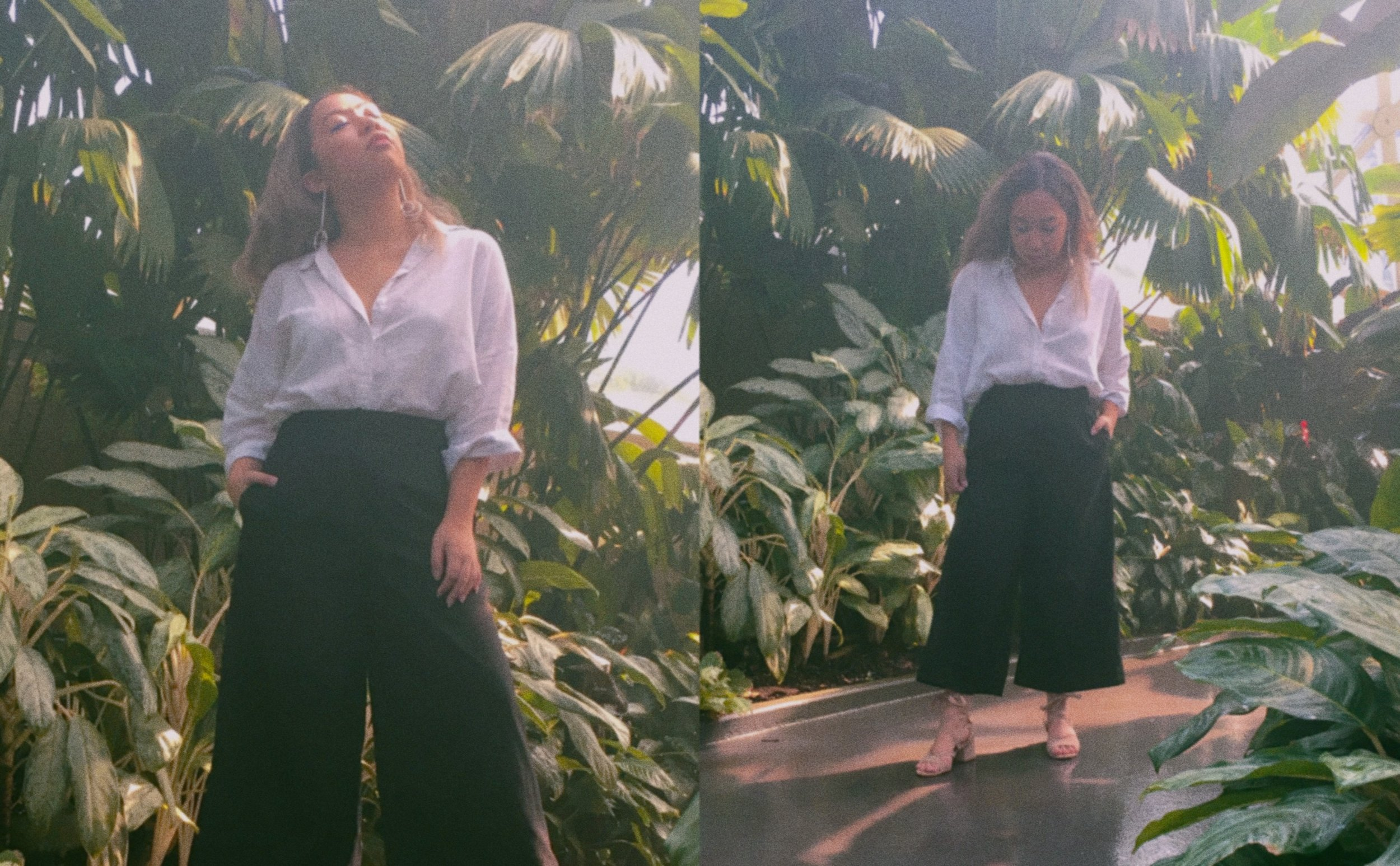 Blouse //  Princess Polly Elle Linen Shirt  Culottes // Thrifted  (Similar Item)   Sandals //  London Rebel Minllow  Earrings // Lovisa (Similar Items:  One ,  Two ,  Three )